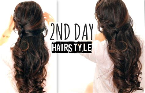 easy hairstyles for school picture day 2nd day hair crossover braids hairstyles tutorial curly half up for school prom wedding