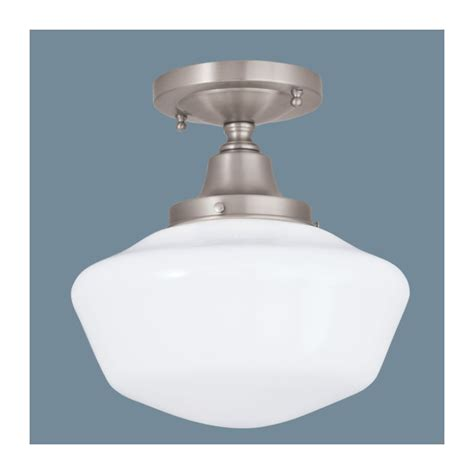 Schoolhouse Ceiling Light Fixture Norwell Lighting 5361f Bn So Brushed Nickel With Shiny Opal Glass 1 Light Semi Flush Ceiling