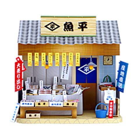 cardboard dolls house furniture templates ドールハウス お魚屋さん 流し台 トロ箱 のぼり 値札 舌平目 車海老 とらふぐ ほたて さんま さば たこ ひらめ