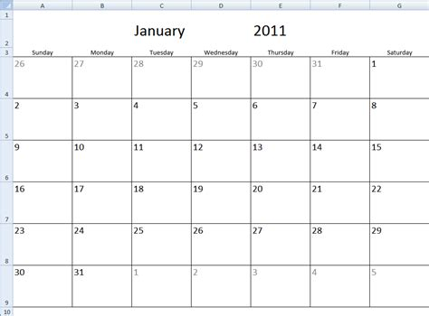template for calendar month monthly calendar template in excel
