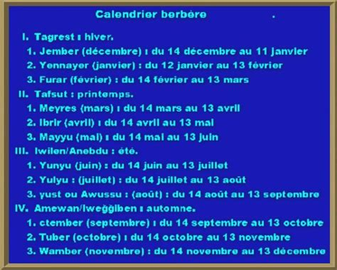 Calendrier Kabyle Ussan