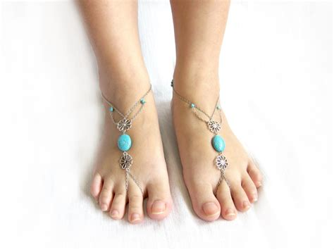 Anklet With Toe Ring anklet toe ring barefoot sandals footwear foot with