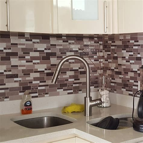 stick on kitchen backsplash tiles peel stick kitchen backsplash wall tiles 12in x 12in