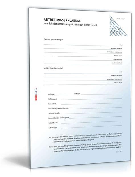 Musterbrief Versicherung Schaden Abtretungserkl 228 Rung Schadensersatzanspruch Werkstatt Muster Zum