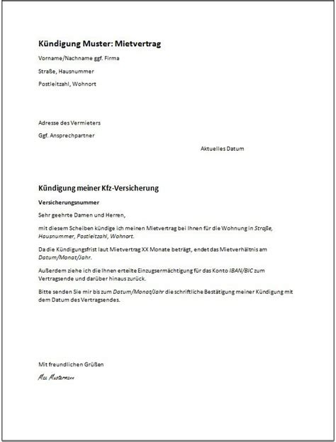 kuendigung mietvertrag vermieter vorlage kuendigung
