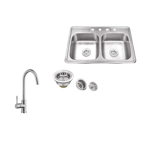 brushed steel kitchen sink ipt sink company drop in 33 in 4 hole stainless steel