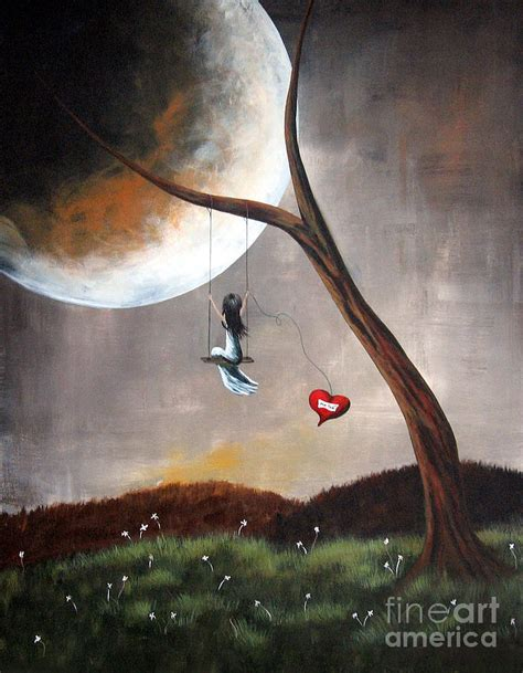 art swing original surreal artwork girl on swing painting by shawna