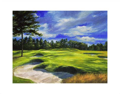 golf course painting oil painting golf art print pinehurst