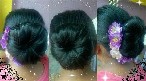 thin med long hair indian hairstyle tutorials easy elegant hair bun for medium long hair tutorial