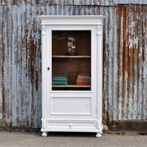 Antique Glass Front Cabinet by Vintage White Painted Glass Front Cabinet Home Barn Vintage