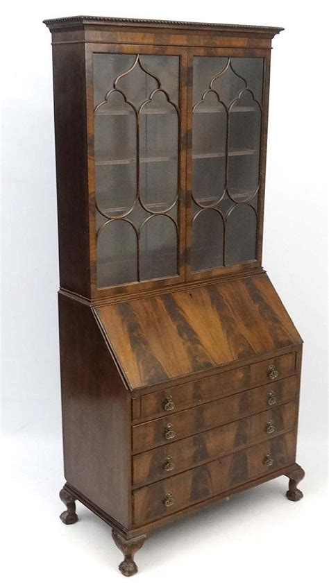 an early 20thc walnut bureau bookcase 36 wide x 80 high