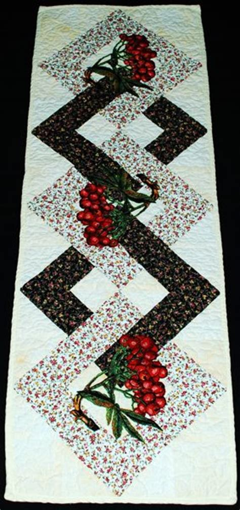 Patchwork Projects Free - quilted table runner with mountain ash embroidery
