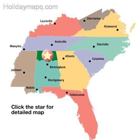 map of the united states southern region us map alabama holidaymapq com