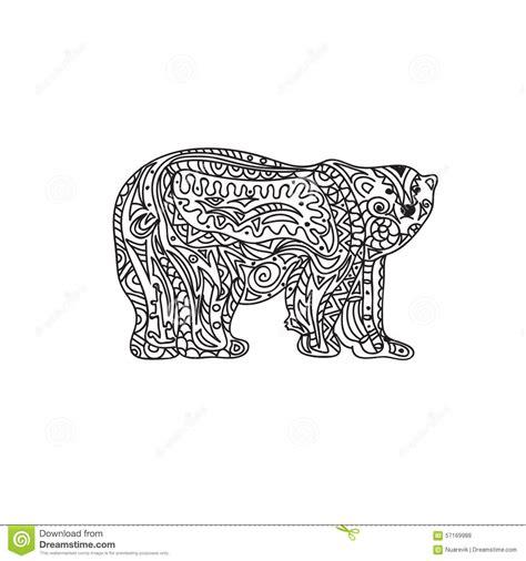 bear mandala coloring pages polar bear zentangle stock illustration illustration of