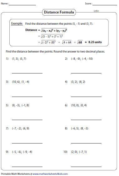 Distance Formula Worksheet With Answers distance formula worksheets