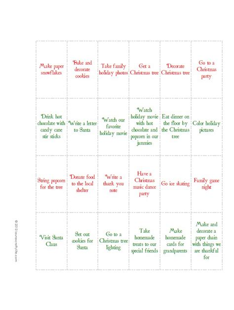 printable calendar activities 7 best images of printable advent calendar ideas