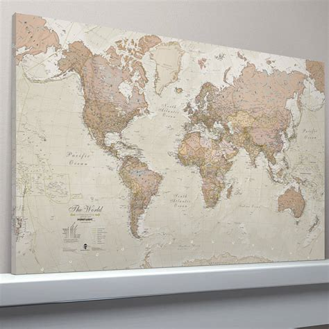 world map canvas canvas antique map of the world by maps international notonthehighstreet