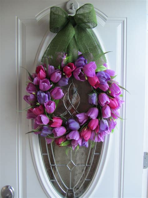 door wreaths for spring spring wreath tulip wreath front door wreath
