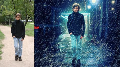 tutorial photoshop cs5 rain effect rain effect and change background photoshop manipulation