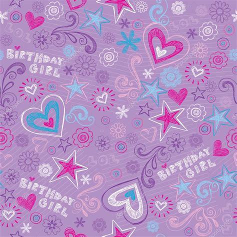 seamless pattern birthday birthday girl doodles seamless pattern vector illustration
