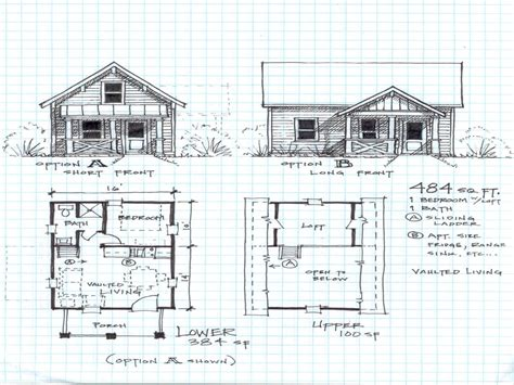floor plan for a 2 bedroom cabin with a loft studio