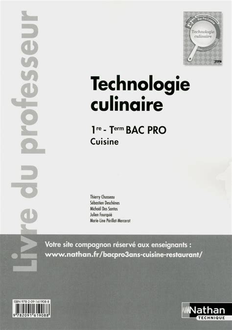 r馭駻entiel bac pro cuisine technologie culinaire 1re et term livre du professeur