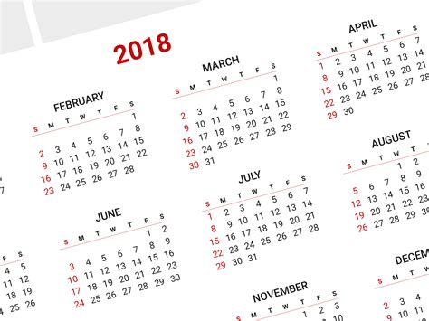 printable yearly calendar 2018 free blank calendar template 2018