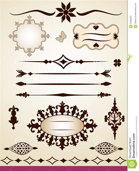 text dividers frames border and decorations stock photo