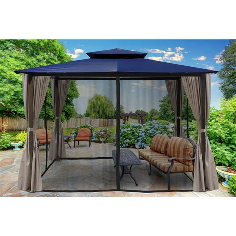 gazebo privacy curtains paragon 10 ft x 12 ft gazebo with navy top and privacy