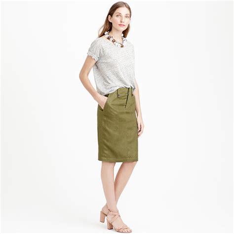 j crew linen cargo pencil skirt in green olive