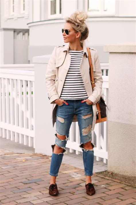 Jaspria Jaket Casual Comby Style a classic trench coat striped shirt ripped denim