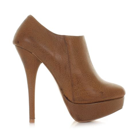 womens leather style platform high heel ankle boots