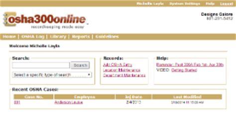 osha300online sample screenshots for osha 300 log management