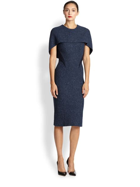Dress In zac posen tweed capelet dress in blue lyst