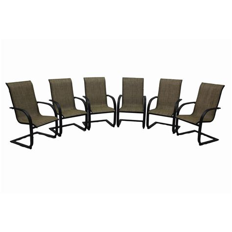 hayden island patio furniture shop garden treasures set of 6 hayden island brown sling seat steel patio dining chairs at lowes