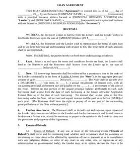 loan agreement template 11 free word pdf documents