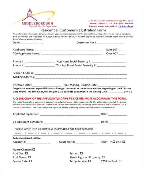 6 customer registration form sles free sle