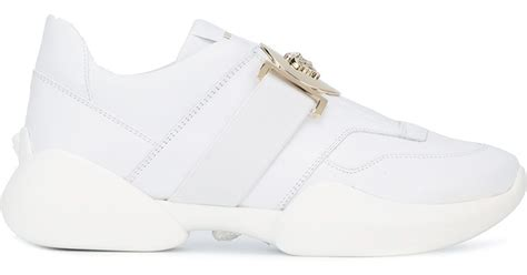 versace white runway high top sneakers in white for lyst