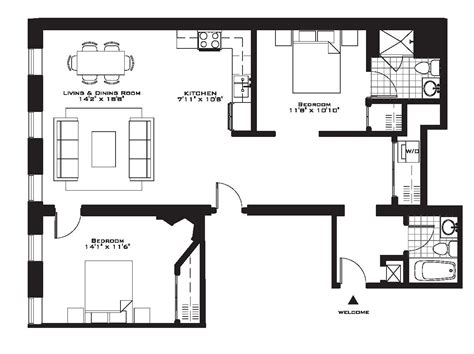 Floor Plan Of 2 Bedroom Flat exquisite luxury 2 bedroom apartment floor plans on