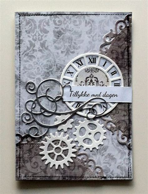 Masculine Handmade Cards - handmade card with flourishes and gears handmade