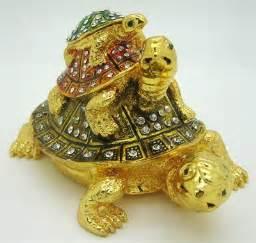 three tortoise/turtle bejeweled trinket box one piece