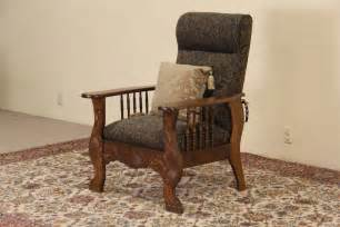 Antique Morris Recliner Chair morris chair 1900 antique oak adjustable recliner green