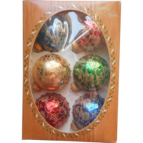 vintage krebs glass christmas tree ornaments filigree