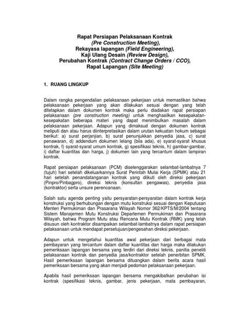 rapat persiapan pelaksanaan kontrak pcm
