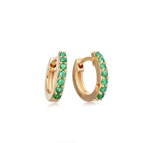 emerald mini halo hoop earrings yellow gold astley clarke