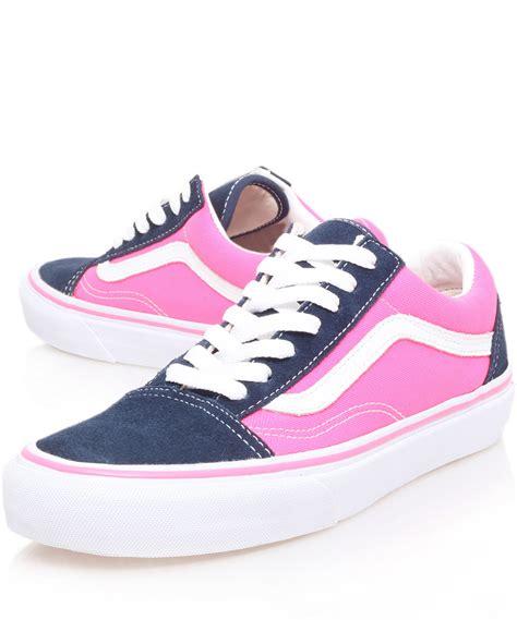 Vans Navy Pink Wam lyst vans navy and pink skool trainers in blue for