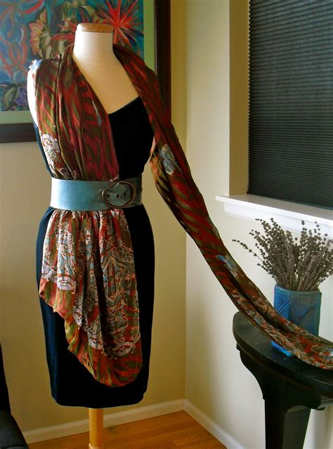 scarf draping lady violette s belted half dress drape a new scarf