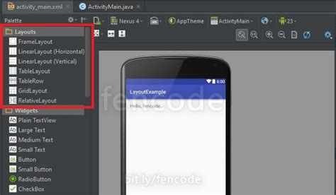 jenis layout design layout pada android studio fen code