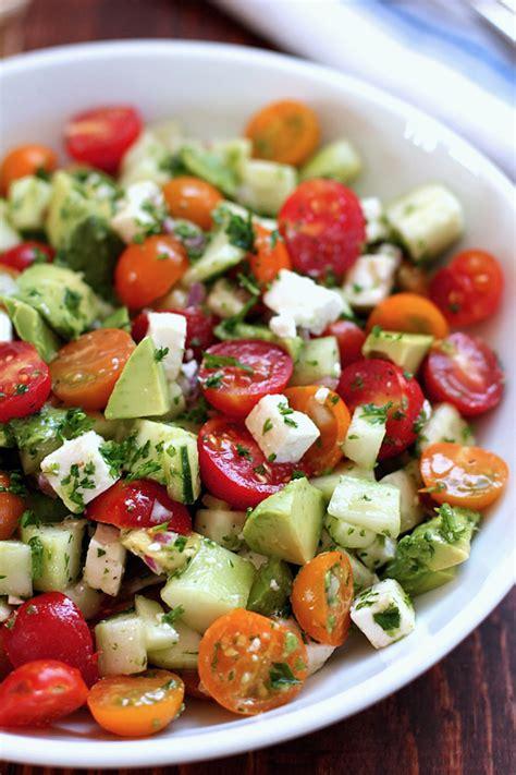 Simple Pasta Salad Recipe by Tomato Cucumber Avocado Salad Green Valley Kitchen