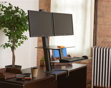 stand up desk monitors standing desk dual monitor dual monitor stand up desk